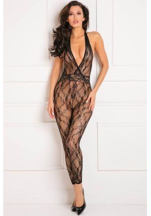 Lacy Movie Bodystocking Black - Front - René Rofé - Bodystocking By Valerie